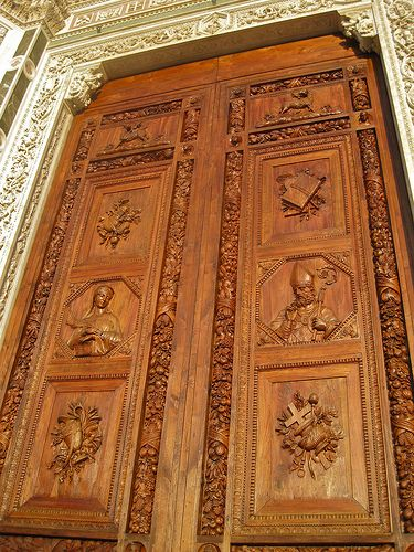 Door at Basilica di Santa Croce, Florence, Italy