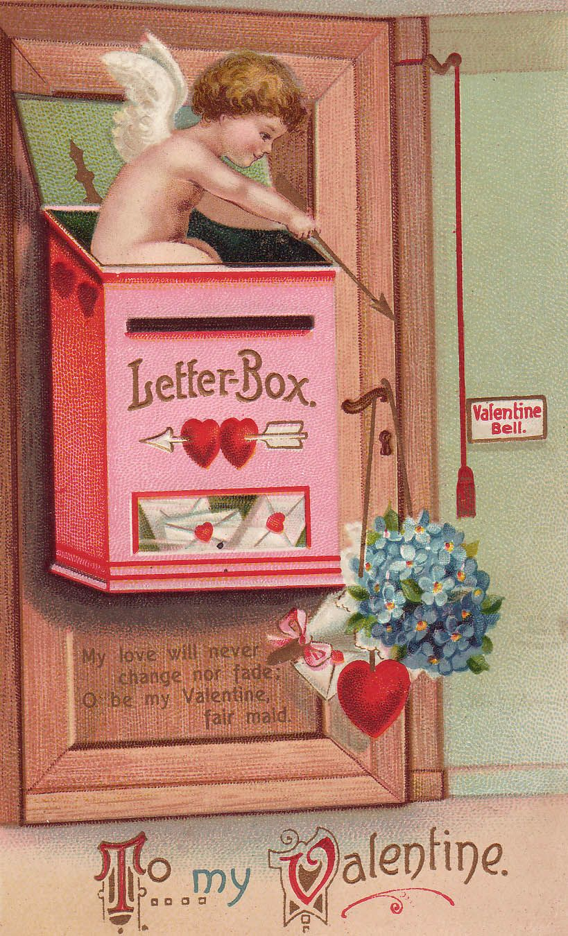 """Early 20th century """"To my Valentine"""" postard, with art by Ellen Clapsaddle, widely recognized as the most prolific postcard artist of her day."""