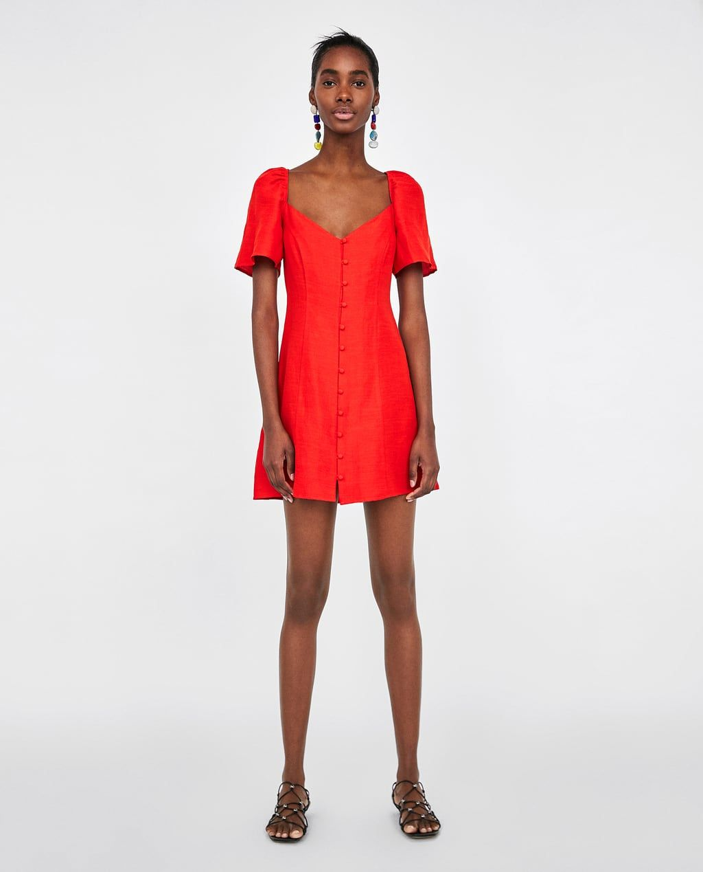 image 1 of short dress with puff sleeves from zara | kurze