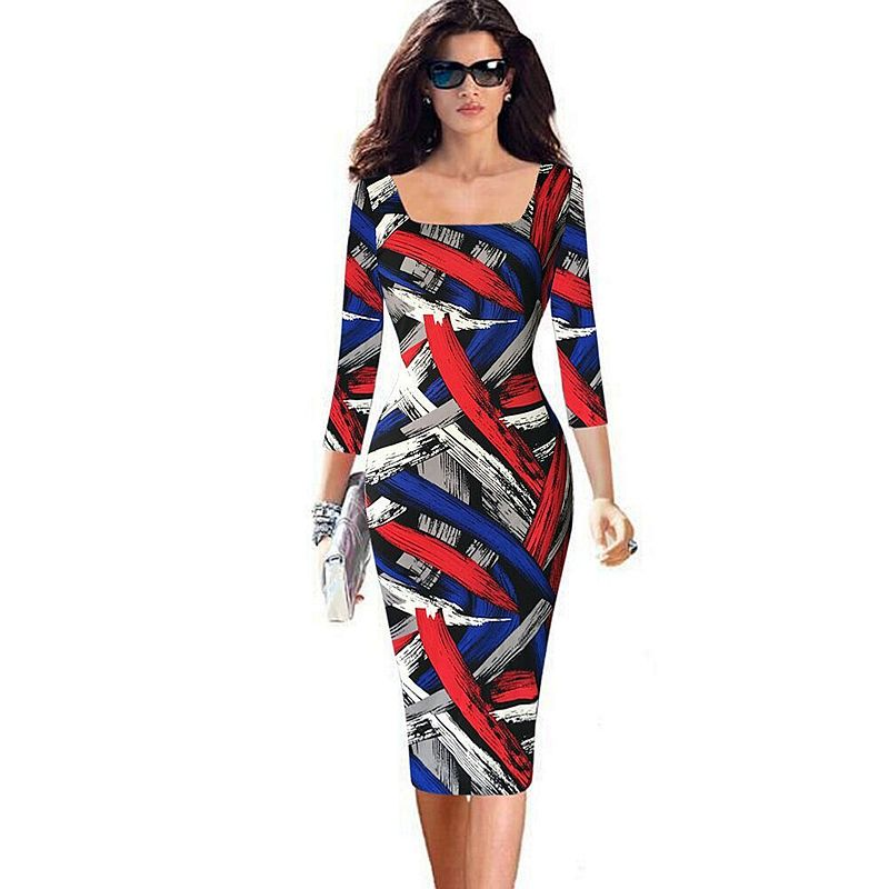 Fashion Striped Elegant Knee length Three Quarter Sleeves Spring Women Sexy Office Work Formal Pencil Dress Lady Bodycon Dresses