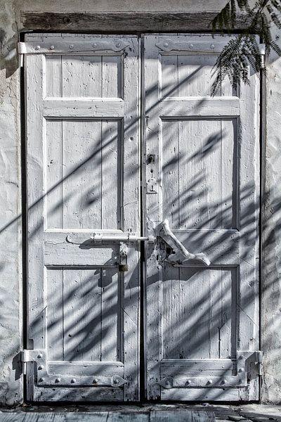 White wooden door from Uwe Merkel on canvas, wallpaper and more