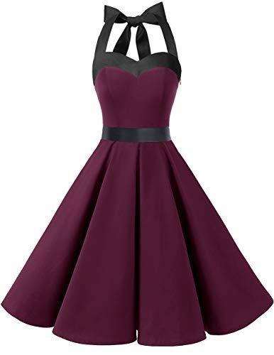DRESSTELLS Damen Neckholder 1950er Vintage Retro Rockabilly Kleider Petticoat Faltenrock Cock...