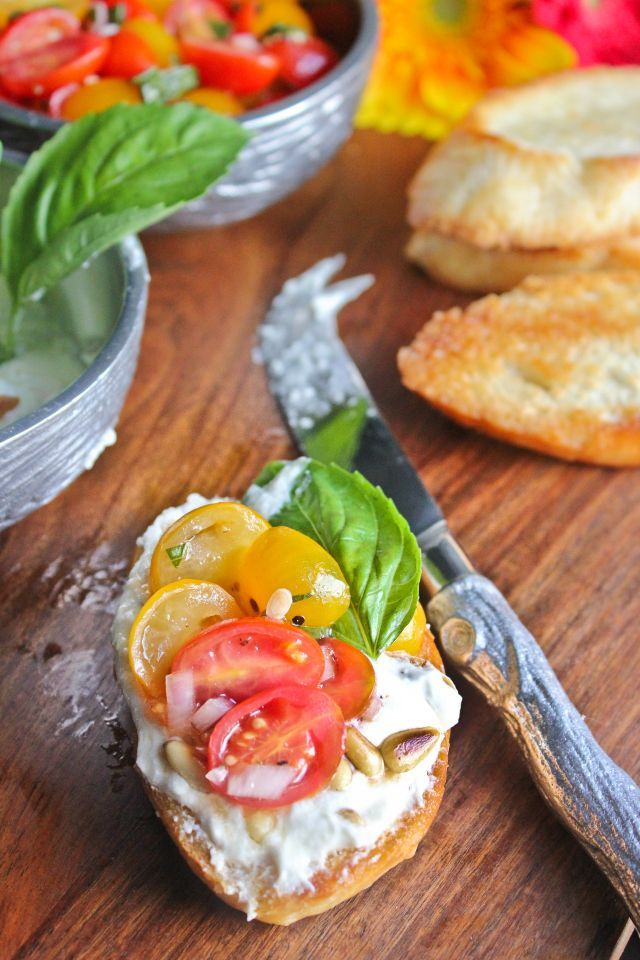 tomato crostini with whipped feta ina garten food network - Ina Garten Pinterest