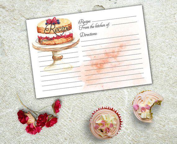 Recipe Card Printable Instant Download Recipe Card