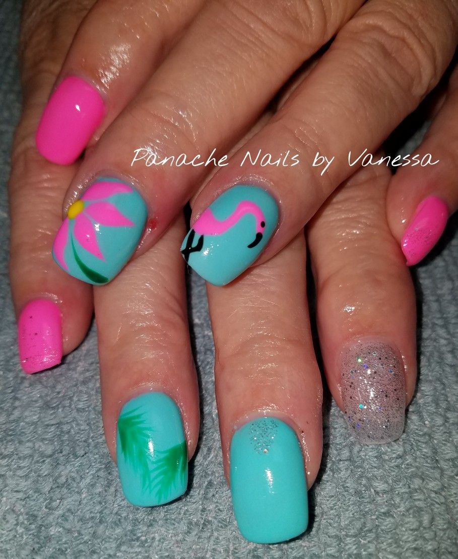Florida Nails On Acrylic Acrylic Nailart Panachenailsbyvanessa Florida Nails Fake Nails Designs Fake Nails