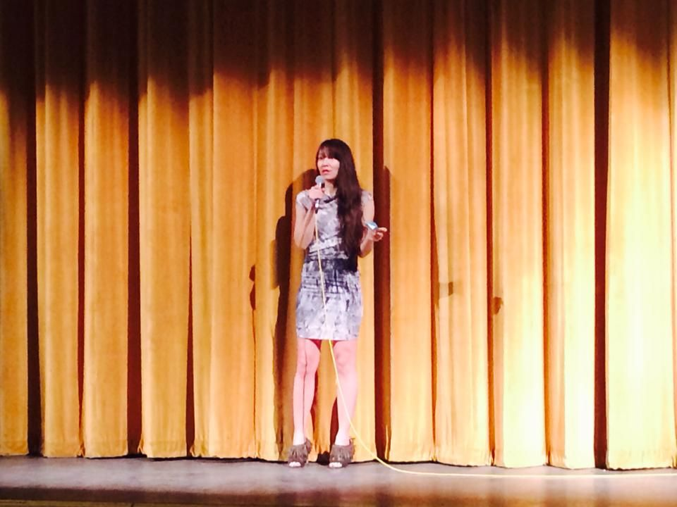 "Film-maker Ursula Liang introduces ""9-Man"" at its Boston premiere. (Photo credit: Facebook)"