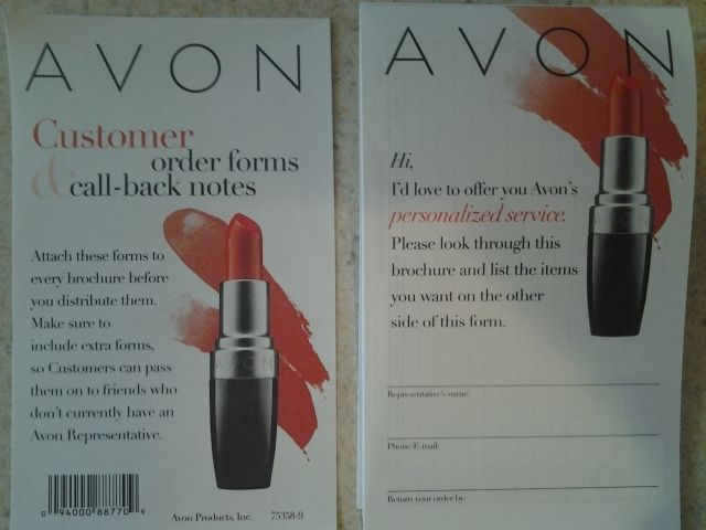 Avon Customer Order Forms \ Call Back Notes Slips available from - duplicate order form
