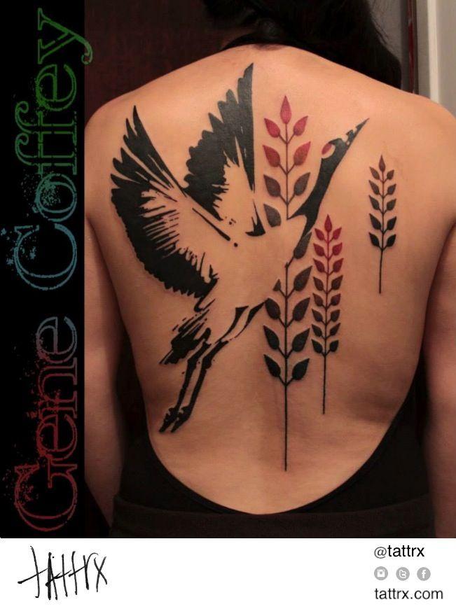 Gene Coffey Flying Japanese Crane Back Tattoo Trendy Tattoos Tattoos