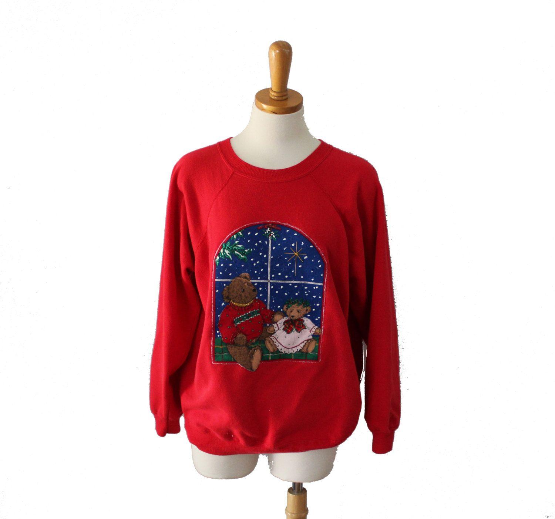 Vintage 90s Ugly Christmas Sweater - Red Novelty Sweatshirt Women Men L - Teddy Bears by bluebutterflyvintage on Etsy