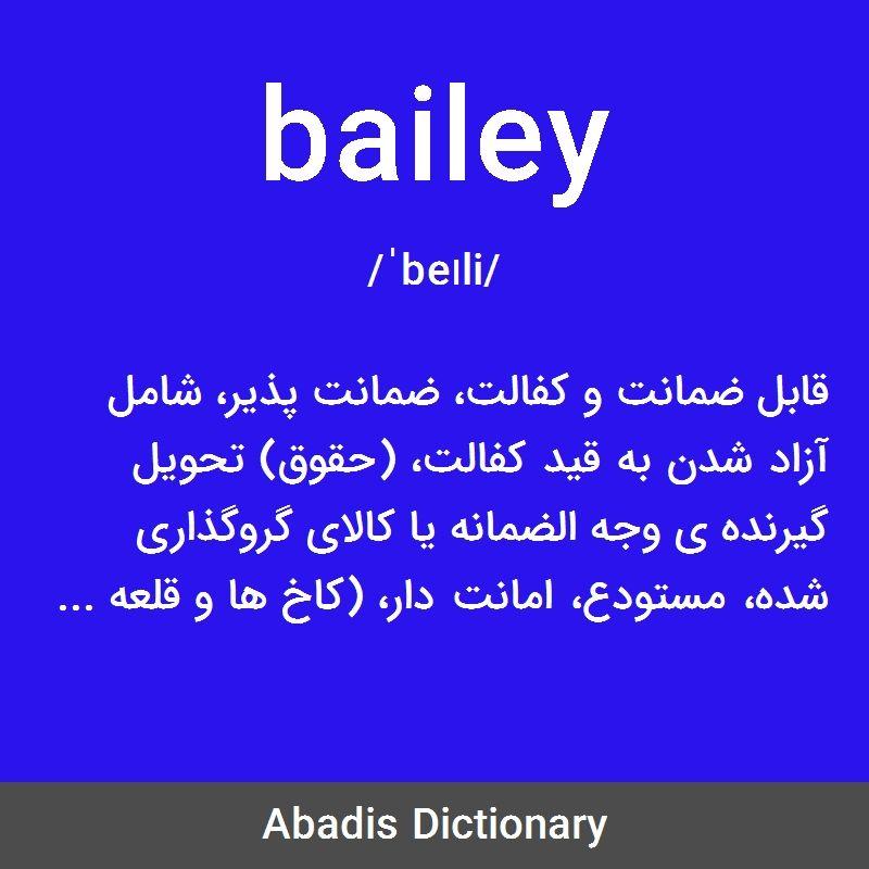 معنی واژه Bailey قابل ضمانت و کفالت ضمانت پذیر شامل آزاد شدن به قید کفالت حقوق تحویل گیرنده ی وجه الضمانه یا کالای گروگذاری شد Boarding Pass Lol Airline