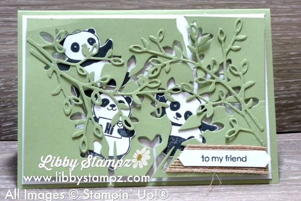 Party Panda - Using Petals & More Thinlit Dies with Pear Pizzazz and Whisper White, these Pandas are playing hide and seek