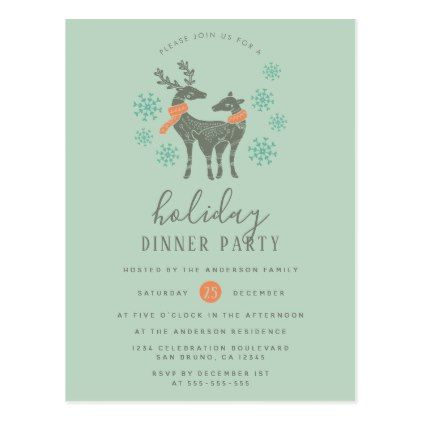 Reindeer  Snowflakes Holiday Party Invitations - holiday party invitation