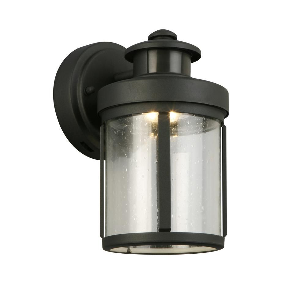 Hampton Bay Black Motion Sensor Outdoor Integrated Led Wall Lantern Sconce Izd1691ls 3 In 2020 Outdoor Light Fixtures Wall Lantern Front Door Lighting