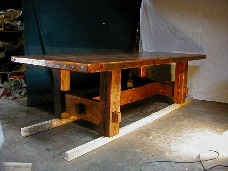 Custom Made Rustic Barnwood Plank Dining Table (Farm Table) With Mortise  Tenon Base And More All Natural Rustic Barnwood Furniture At  YellowStoneFurniture.