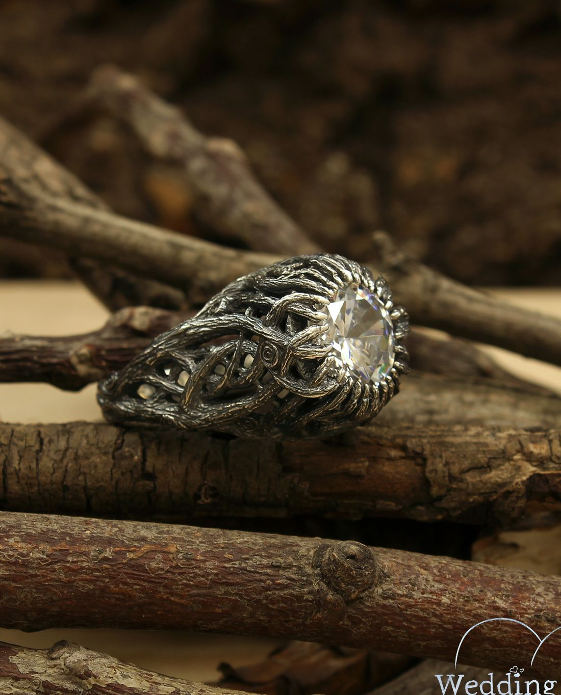 Braided branches ring in silver, Wild forest ring, Women's