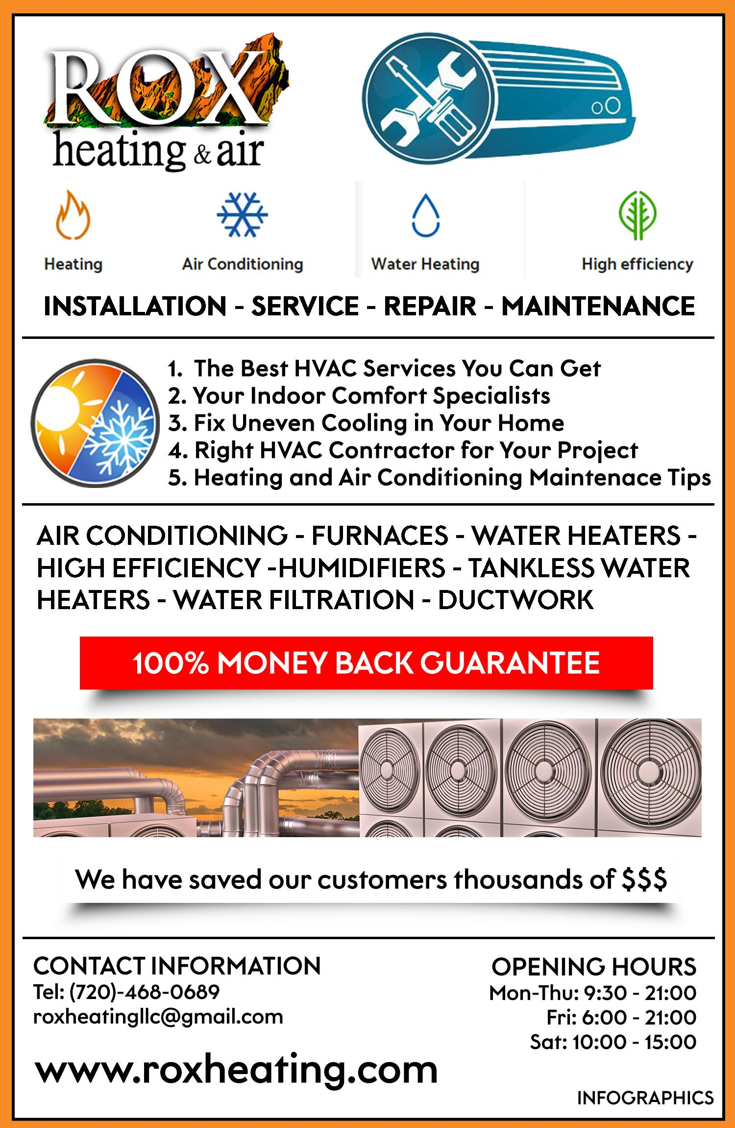 Turn to ROX Heating & Air for top notch heating services