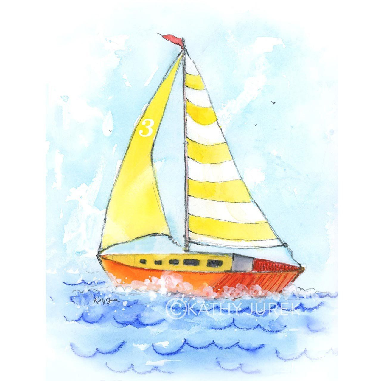 Yellow Striped Sailboat Art Print | Watercolor texture, Watercolor ...