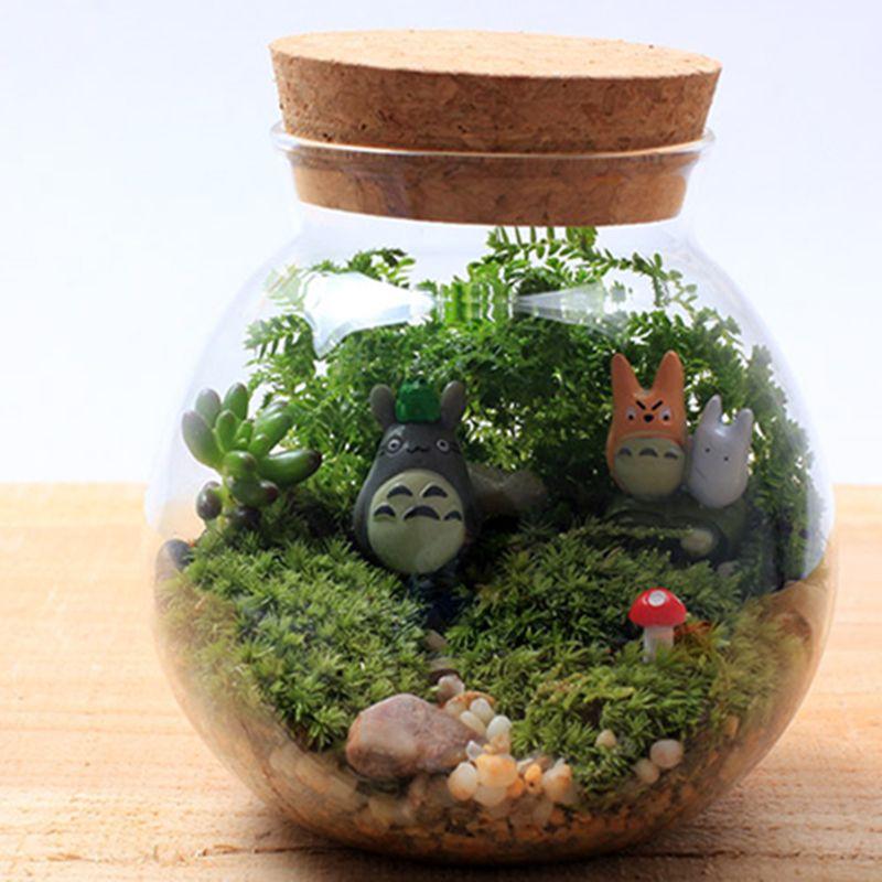 Decorative glass bottles double totoro bryophytes micro for Jardin glass jars