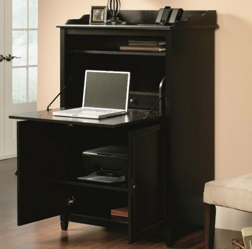computer armoire desk for small spaces storage drawers shelf dresser home office sauder