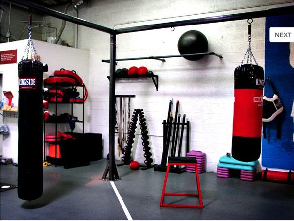 Well equipped home boxing studio gym garage
