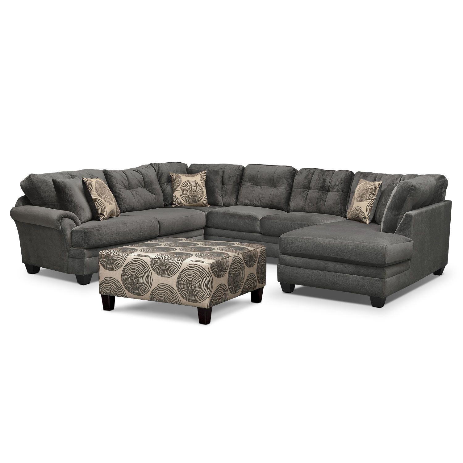 Living room furniture cordoba 2 pc sectional - Living Room Furniture Cordelle 3 Piece Sectional And Cocktail Ottoman Set