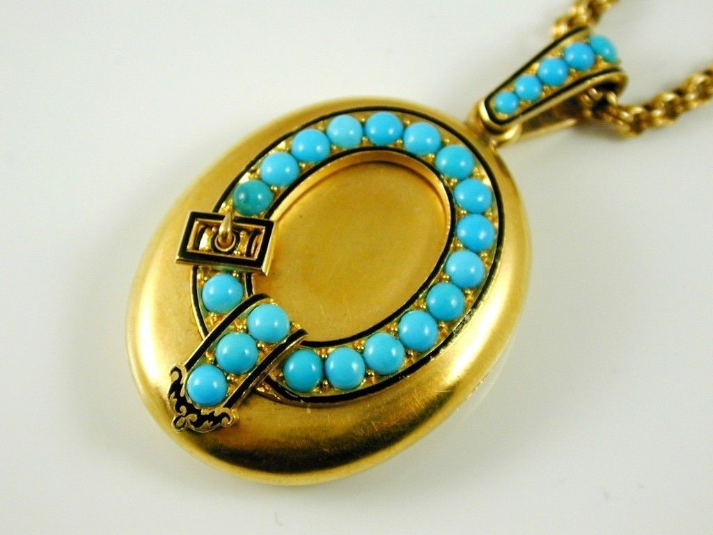 Turquoise Black Enamel Antique Victorian Locket Necklace 18ct Gold Circa 1880s | eBay