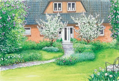 Ideen für einen großen Vorgarten Landscaping, Terrace and Flowers - vorgartengestaltung mit rindenmulch und kies
