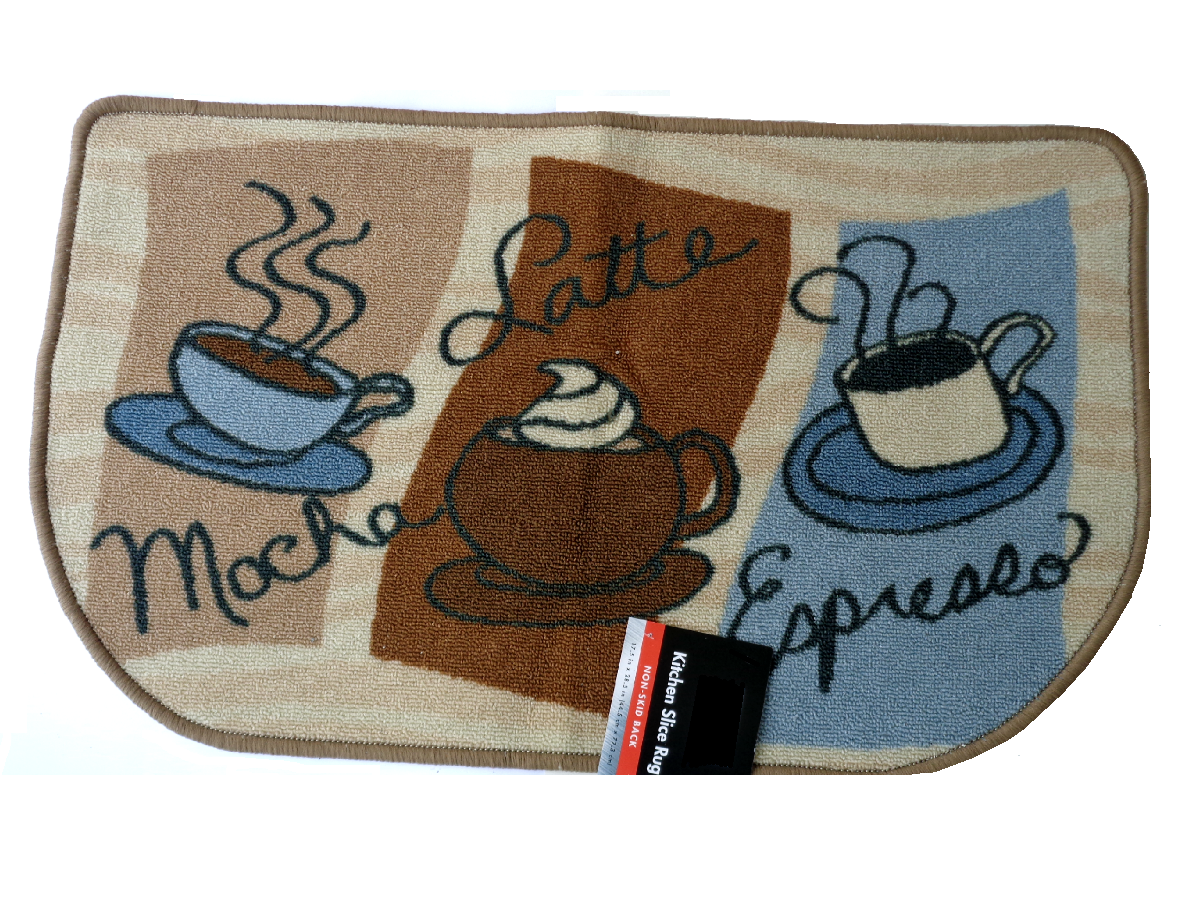 Get Your Caffeine On With This Slice Kitchen Rug That Features Cups Of  Coffee With The Words Mocha, Latte, And Espresso.