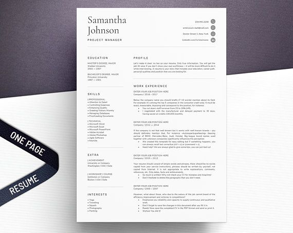 Single Page Resume Templates Clean And Simple Resumes With