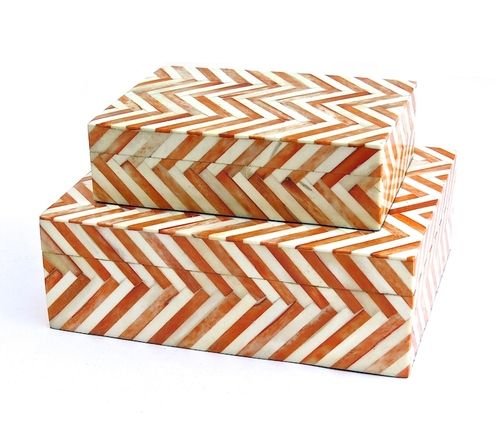 "Chevron Tile Bone Box in Persimmon and Natural 7×5x2""h  9×7x3""h"