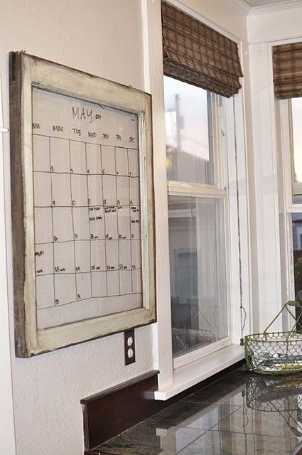 Old Window Calender you could also use an old window as a notice board and purchase some glass markers! Great Idea