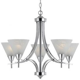 Matte Pewter with French Swirl Alabaster Glass Chandelier//Island Light