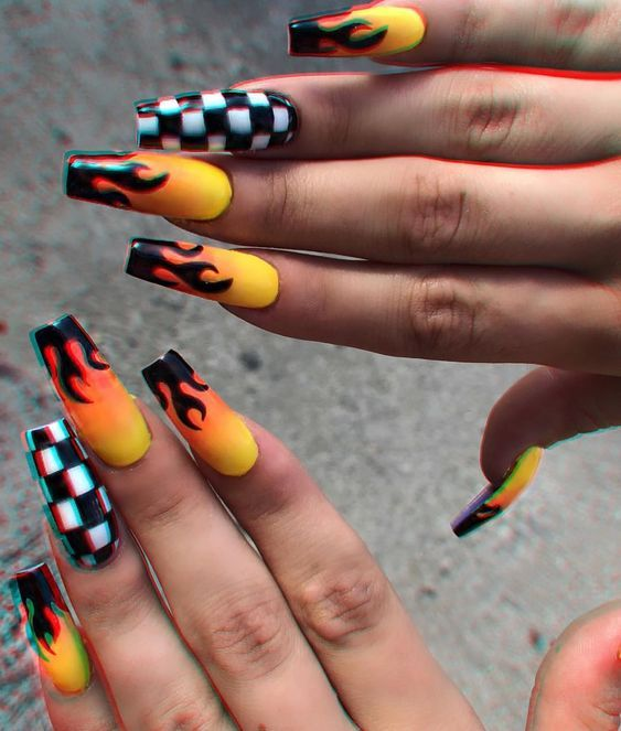 51 Stylish Fire Nail Art Design Ideas You Must Try Coffin Nails Designs Checkered Nails Nails Tumblr