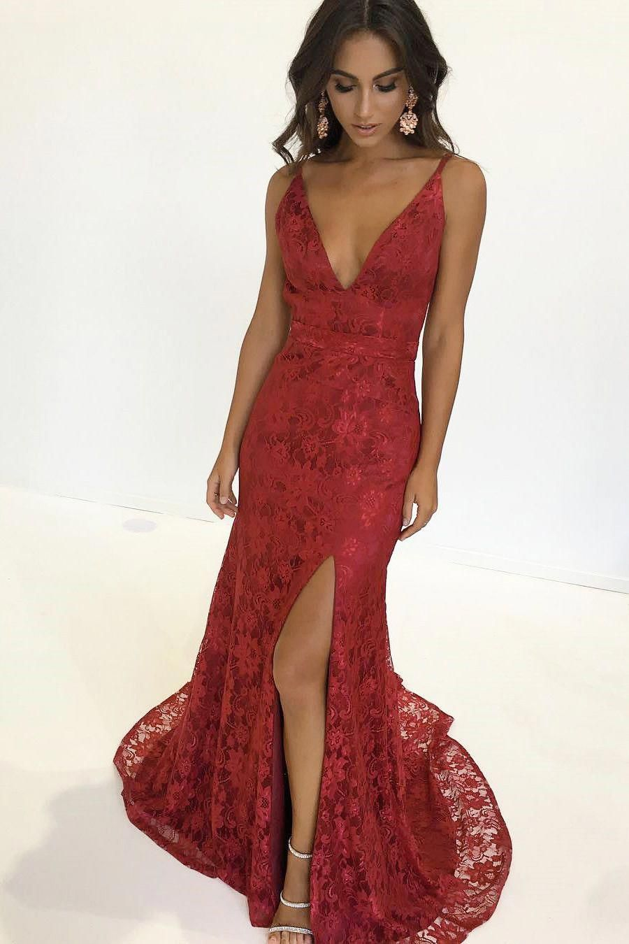 wow, gorgeous burgundy lace mermaid long evening dress # ...