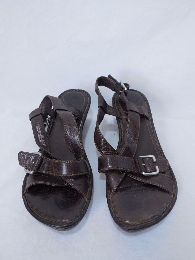 Women's Born Size 7 M Brown Leather Strappy Sandals #Brn #Strappy