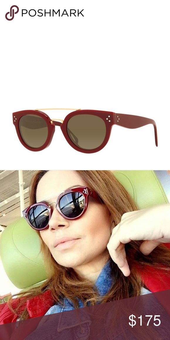 78d203ca369 Celine New Preppy Sunglasses red burgundy Red Acetate sunglasses by Celine.  Style called new preppy. Good condition. Celine Accessories Sunglasses