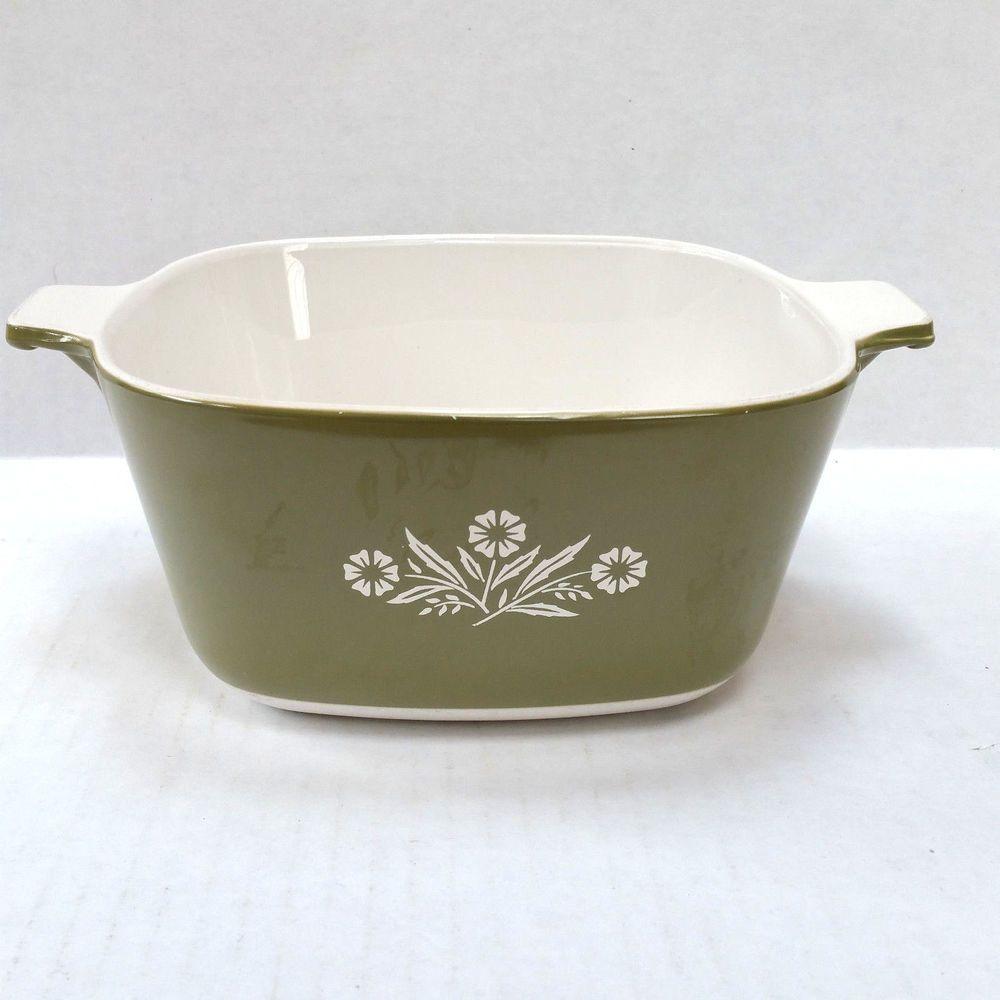 Rare Vintage Corning Ware Green Cornflower Casserole Dish