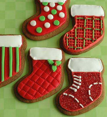 Christmas Stocking Decorated Sugar Cookie Royal Icing Red White
