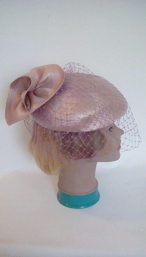 Vintage 80s pillbox hat by Mitzi Lorenz of London lilac hat ... 1e761cf8a64