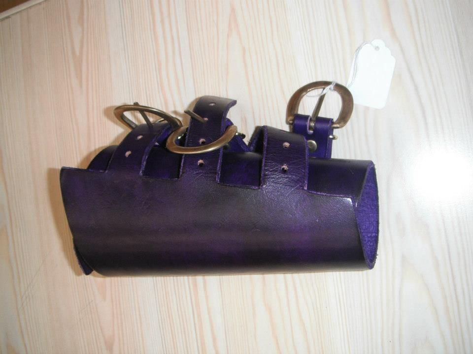 Buckle type vambrace, in purple with brass buckles. £17.50