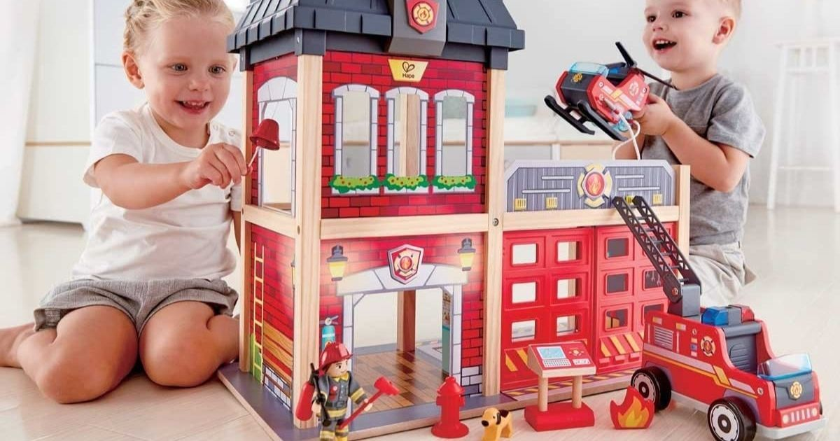 Hape Fire Station Playset ly $57 99 Shipped on Amazon Regularly $100 Hip2Save