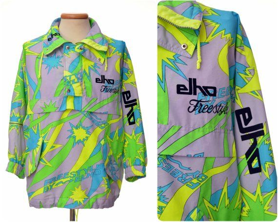 rad 80s neon SKI JACKET by ELHO   Freestyle   part ski suit   size mens S  small   windbreaker  80s  90s  ski  jacket  green  gray  neon  acid wave 27d7280f1