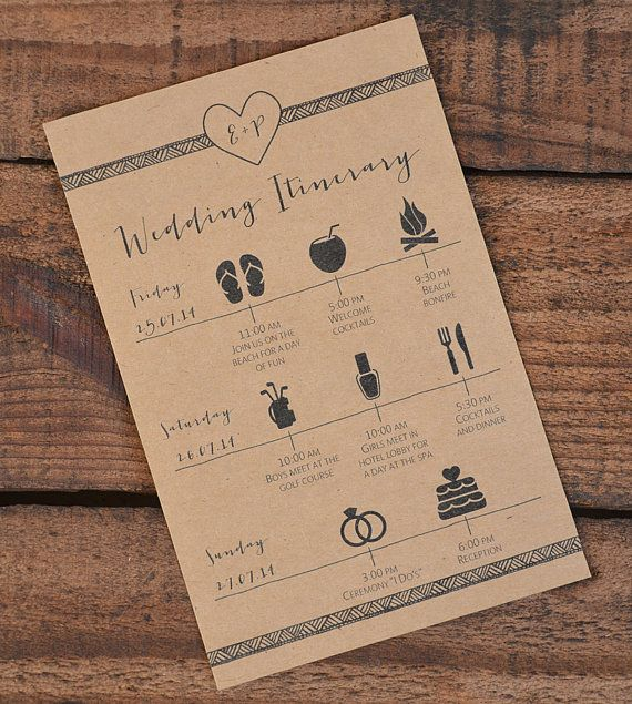 Wedding Itinerary\/Schedule~ Wedding Weekend Activities\/Events - wedding itinerary