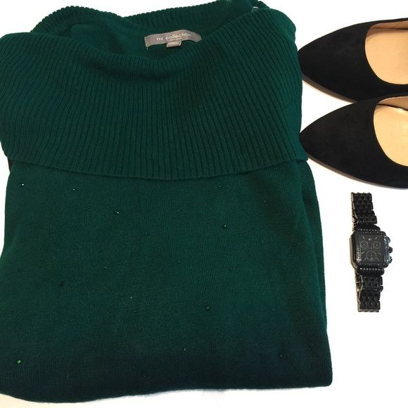 NY Collection Sweater NY Collection Sweater Emerald Green Ombré with green rhinestone accented NY Collection Sweaters