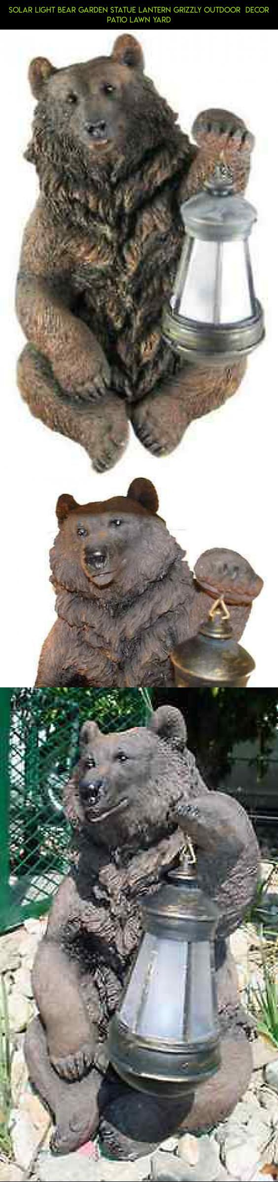 Solar Light Bear Garden Statue Lantern Grizzly Outdoor Decor Patio Lawn  Yard #drone #technology