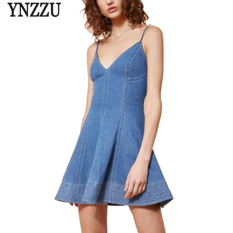 a0ccf53c YNZZU Sexy V Neck Women Dresses 2018 Spring Summer Cool Backless Strap  Party Dresses Denim Mini Dress Vestido YD183