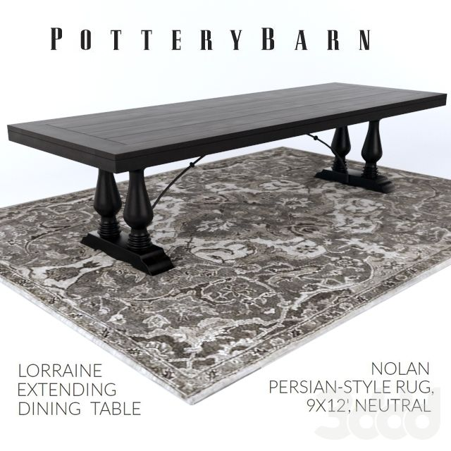 Pottery Barn Lorraine Dining Table  Nolan Persianstyle Rug  3D Alluring Pottery Barn Dining Room Tables Inspiration Design