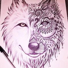 T te de loup dessin au stylo bic dessin tattoos et sketches - Tete de loup dessin ...