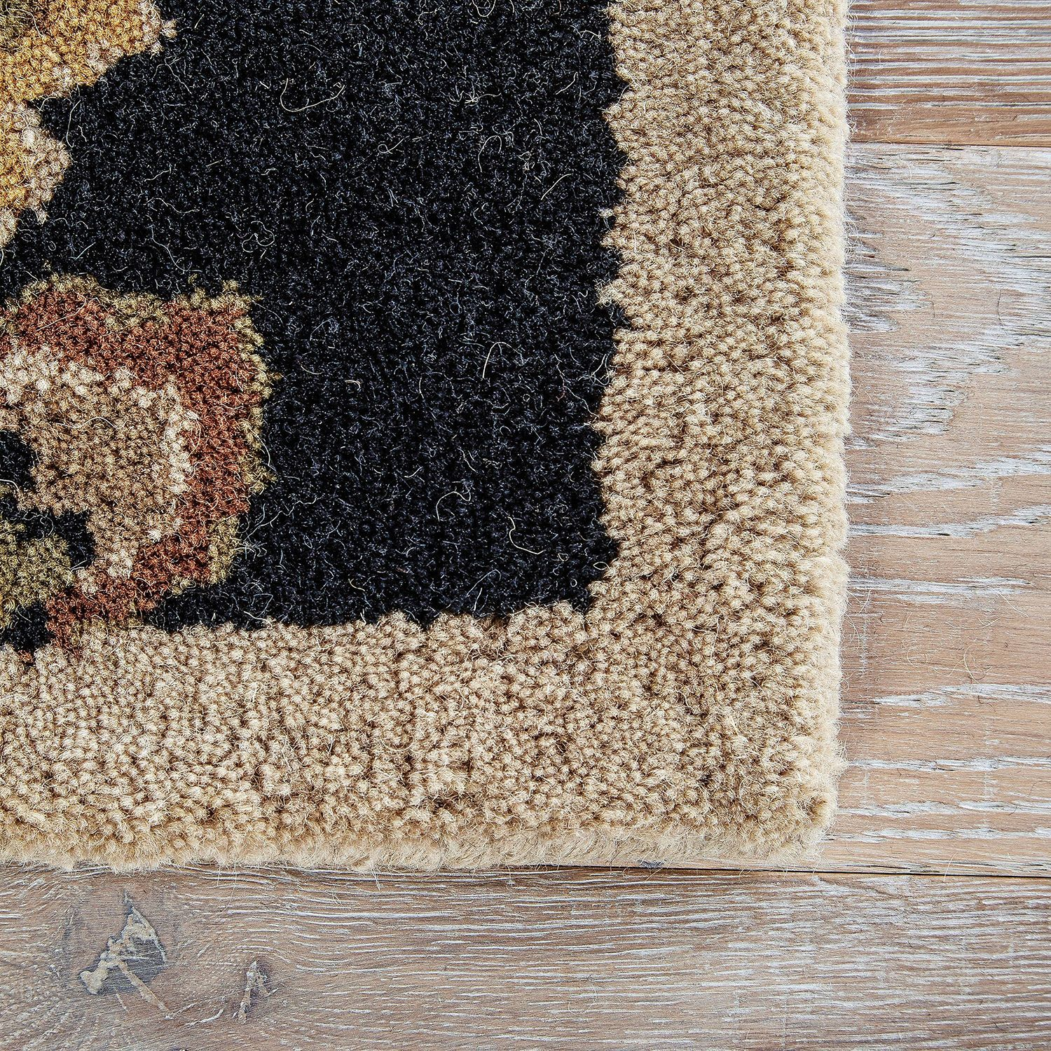"""Coventry Floral Black & Tan 2'6"""" X 10' Rug"""