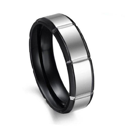 JewelryWe 6mm Men Ladies Black Tungsten Carbide Ring with Silver Laser Etched Batman Symbol Collector's Engagement Wedding Band hxMnm4s